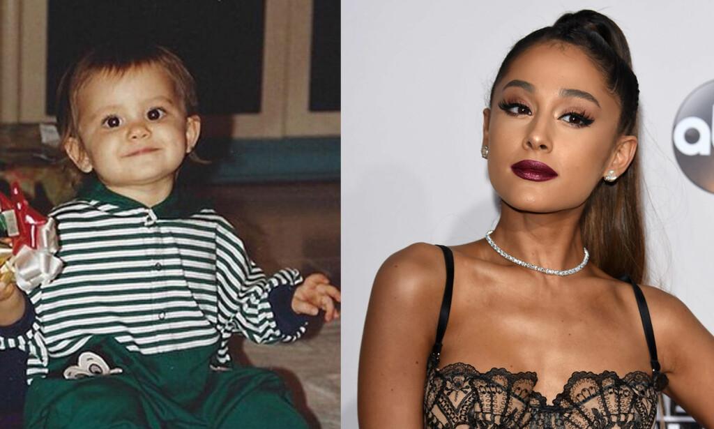 SØT: Superstjerna Ariana Grande delte dette bildet av seg selv som baby. Foto: Instagram