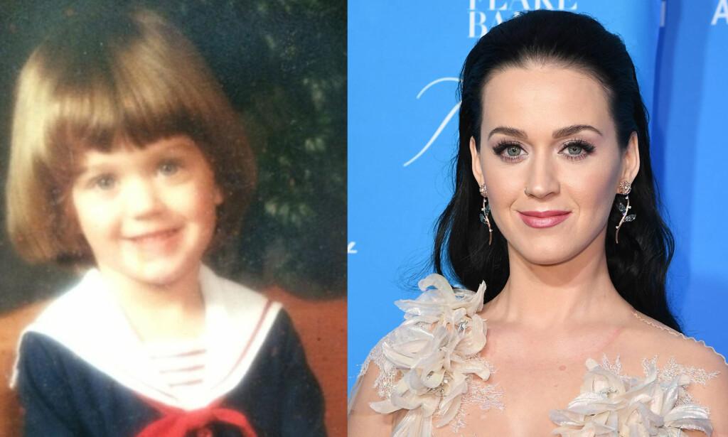 HEI SVEIS: Sangstjerna Katy Perry med kort bollesveis som barn. Foto. Twitter / NTB scanpix