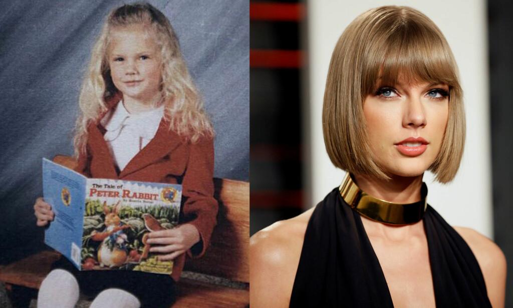 KRØLLTOPP: Taylor Swift med sine karakteristiske krøller på bildet til venstre. Foto: Twitter / NTB scanpix