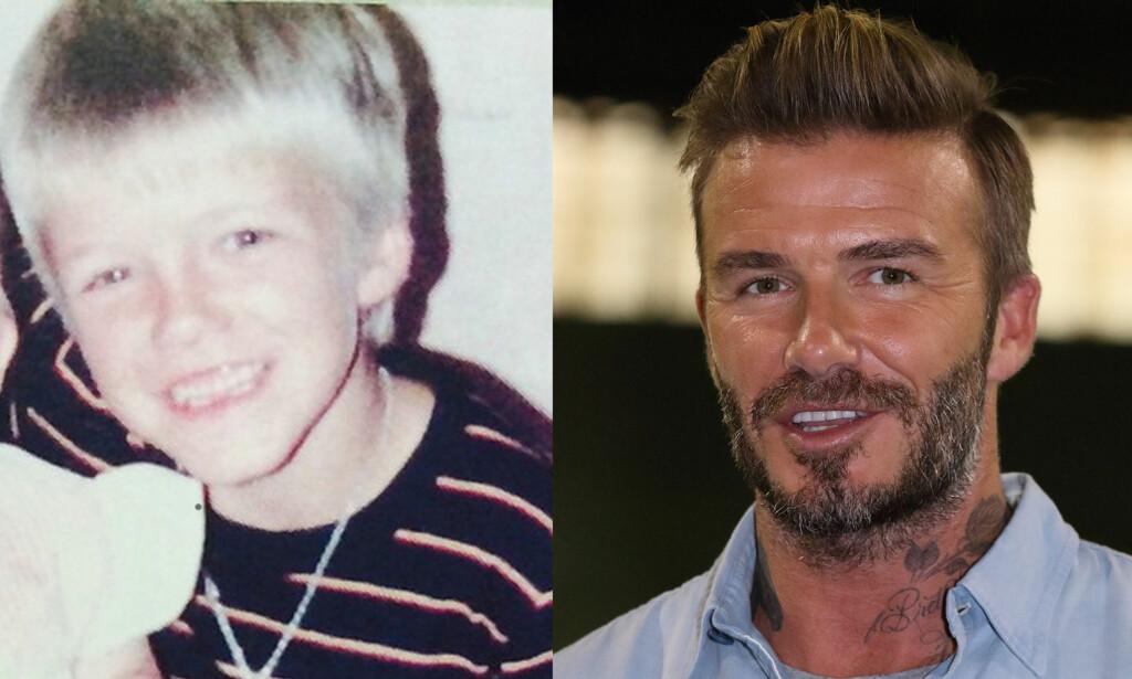UGJENKJENNELIG: Fotballstjernen David Beckham er nesten ikke å kjenne igjen på bildet fra barndommen. Foto: NTB scanpix