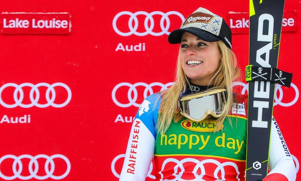VANT IGJEN: Lara Gut er ikke ukjent på pallen i alpint. Søndag tok hun sin 20. verdenscupseier. Foto: Sergei Belski-USA TODAY Sports