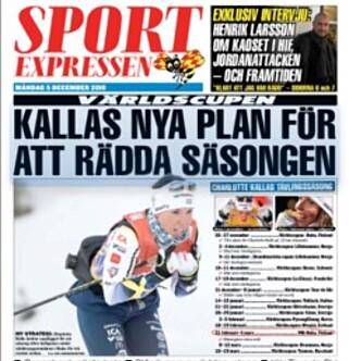 I OVERSKRIFTENE: Den svenske avisa Expressen bruker store overskrifter på Charlotte Kalla i dag.