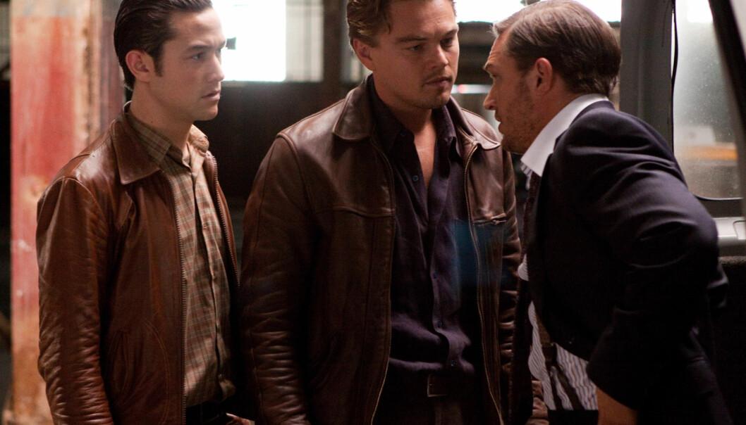 TALENTFULLE: I 2010 spilte Leo og Tom også mot hverandre i suksessfilmen «Inception». Her er duoen i en scene sammen med Joseph Gordon-Levitt.