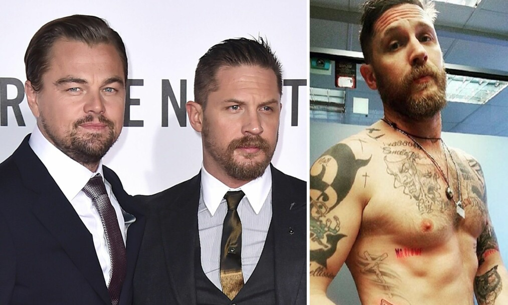 STRAFF: Leonardo DiCaprio har bestemt at Tom Hardy må tatovere «Leo vet alt» et sted på kroppen som allerede er tildekt av mye blekk. Foto: NTB Scanpix.