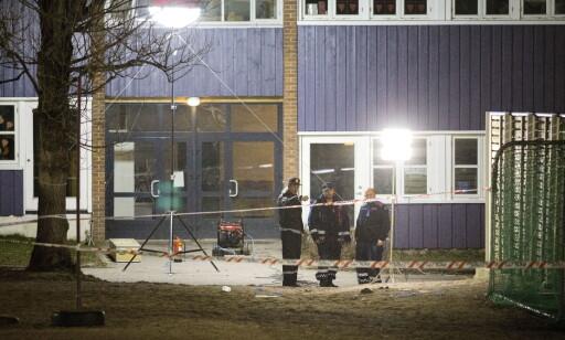ÅSTED: Politiet på åstedet Wilds Minne i Kristiansand i går kveld. Foto: Tomm W. Christiansen / Dagbladet