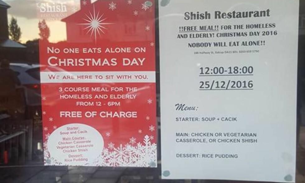 GRATIS MÅLTID: Den tyrkiske restauranten Shish gir bort et gratis måltid til både hjemløse og eldre 1. juledag. Foto: Facebook / Shish Rest