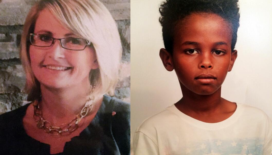 <strong>DREPT:</strong> Tone Ilebekk (48) og Jakob Abdullahi Hassan (14). Foto: Politiet