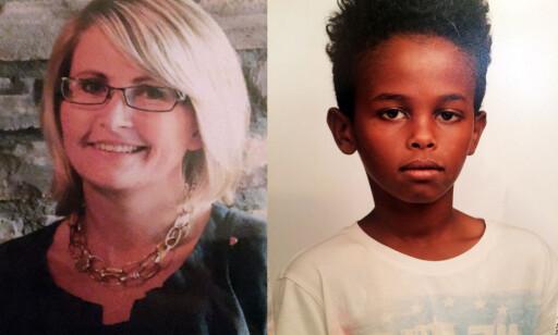 DREPT: Tone Ilebekk (48) og Jakob Abdullahi Hassan (14) ble drept i Kristiansand i går ettermiddag. Foto: Politiet / NTB Scanpix