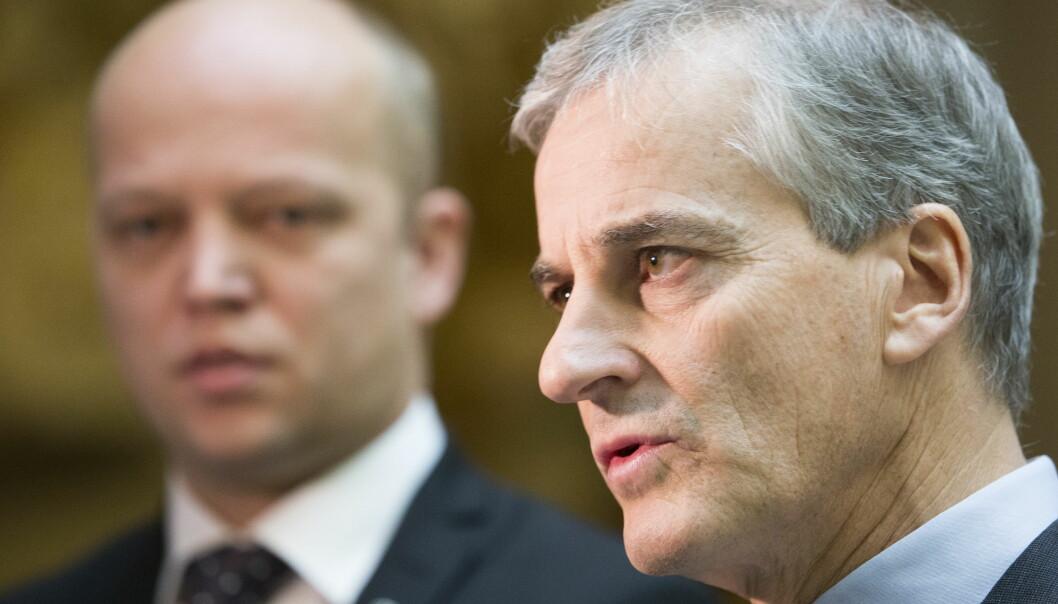 KRISEMÅLING: Ap-leder Jonas Gahr Støre klarer ikke å friste velgere tross regjeringens bomkrise. Det gjør derimot Sp-leder Trygve Slagsvold Vedum. Håkon Mosvold Larsen / NTB scanpix