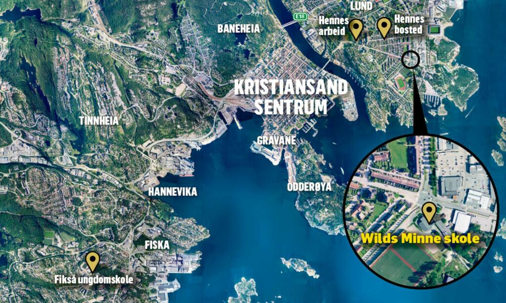 HER SKJEDDE DRAPENE: To personer ble i går ettermiddag knivstukket og drept i Kristiansand, rett ved barneskolen Wilds Minne i den sentrumsnære bydelen Lund. Grafikk: Kjell Erik Berg / Dagbladet