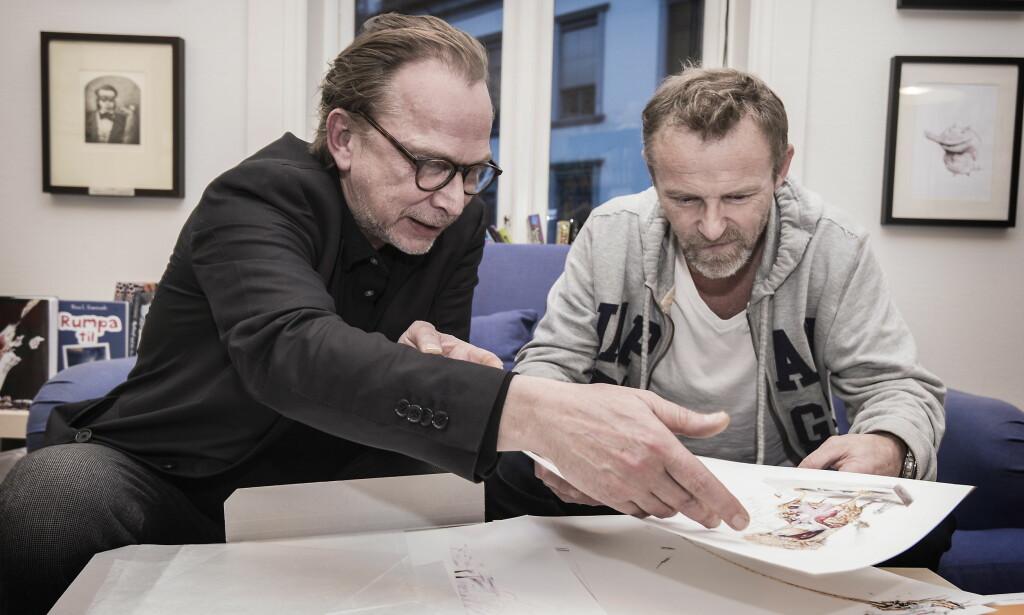 TOSPANN: - Vi har et fantastisk nonverbalt samarbeid, sier Jo Nesbø om seg selv og illustratør Per Dybvig. Foto: Hans Arne Vedlog