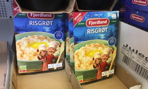 BILLIG RISGRØT: 8,90 koster en pakke med risgrøt fra Fjordland. Foto: Berit B. Njarga