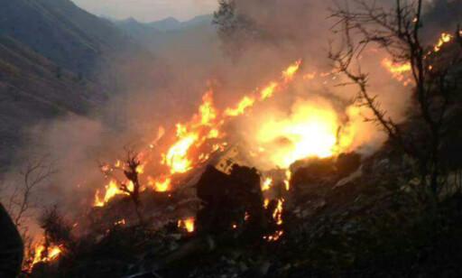 FLYSTYRT: Et fly har styrtet nord vest i Pakistan. Foto: Sipausa / NTB Scanpix