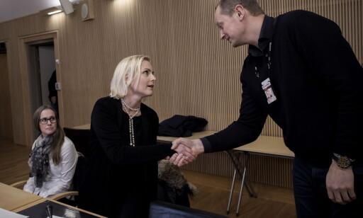 KRISTIANSAND: Bistandsadvokat Kristine Eide, bistandsadvokat Tove Westbye og Tor Kallmyr fra Kripos. Foto: Tomm W. Christiansen / Dagbladet