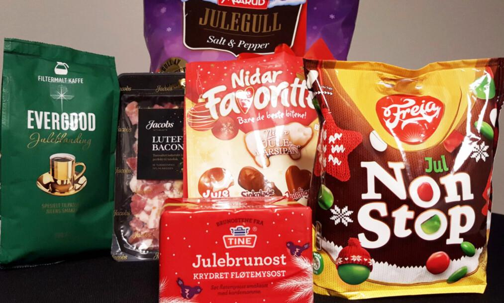 JULEPRIS: Nisser og stjerner, julefarger og koselige småfugler gjør kaffen, snacksen, osten, godteriet og kjøttet dyrere. Foto: tv2 Matkontrollen