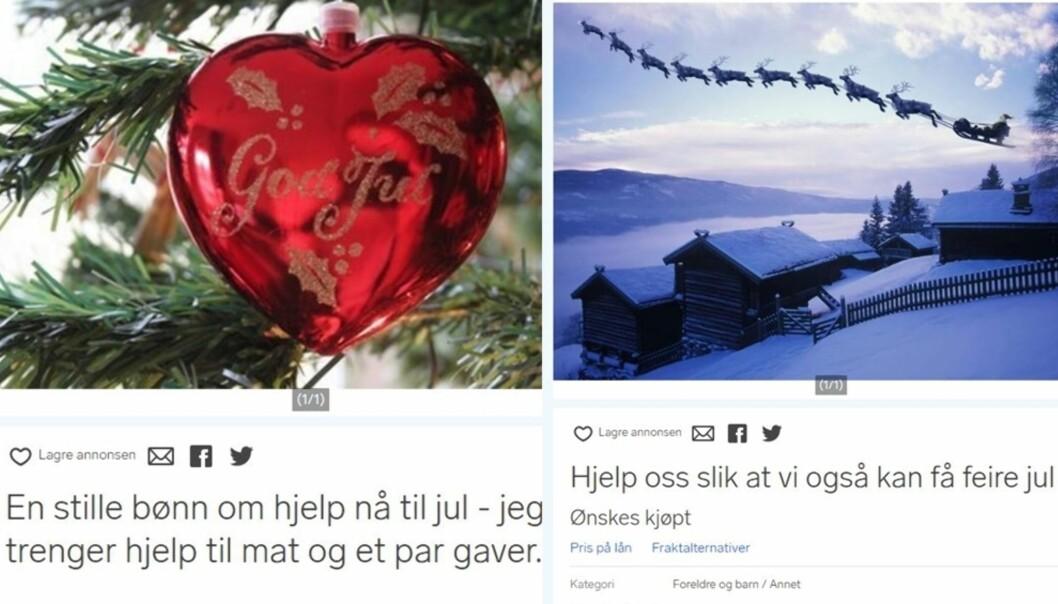 BER OM HJELP TIL JUL: Mange familier sliter øknomisk i jula og velger å bruke Finn.no til å be om hjelp: Foto: Skjermdump Finn
