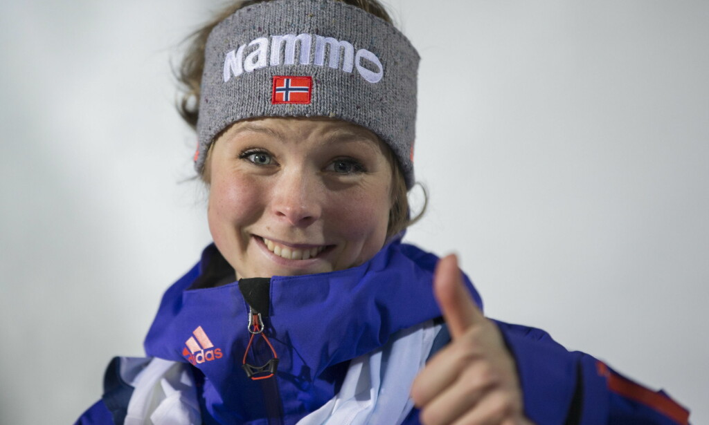 SUVEREN: Norske Maren Lundby vant til slutt overlegent med 229,6 poeng. Daniela Iraschko-Stolz fra Østerrike ble nummer to, 5,5 poeng bak den norske jenta. Foto: Geir Olsen / NTB scanpix
