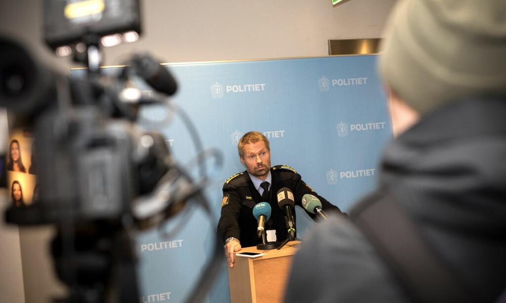 PRESSEKONFERANSE: Terje Kaddeberg Skaar, sjef for felles kriminalenhet i Kristiansand. Foto: Tomm W. Christiansen / Dagbladet