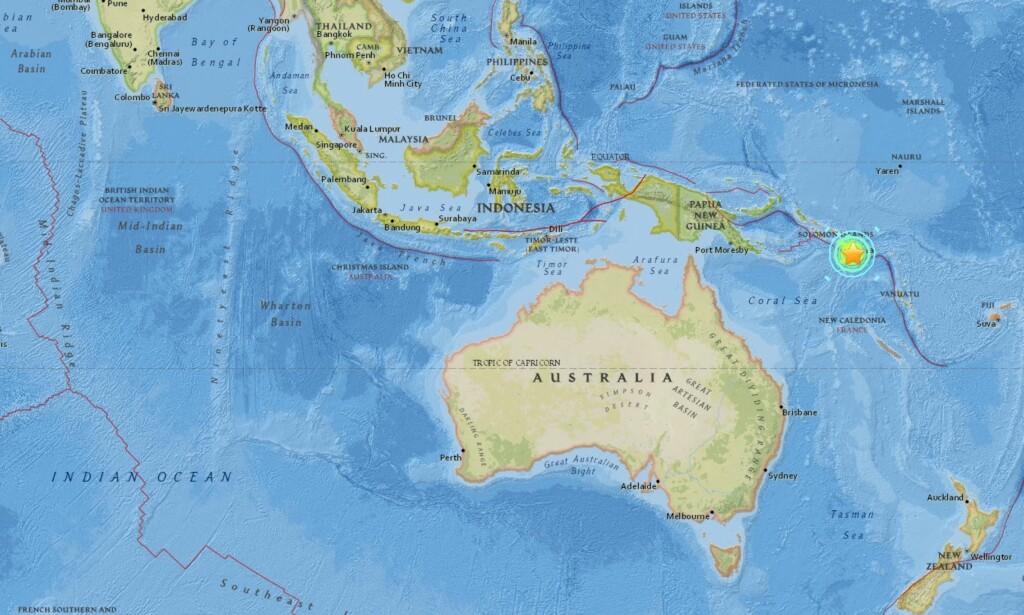 JORDSKJELV: Salomonøyene ligger i Stillehavet, nord for Australia og øst for Papa Ny-Guinea. Foto: Skjermbilde fra USGS.