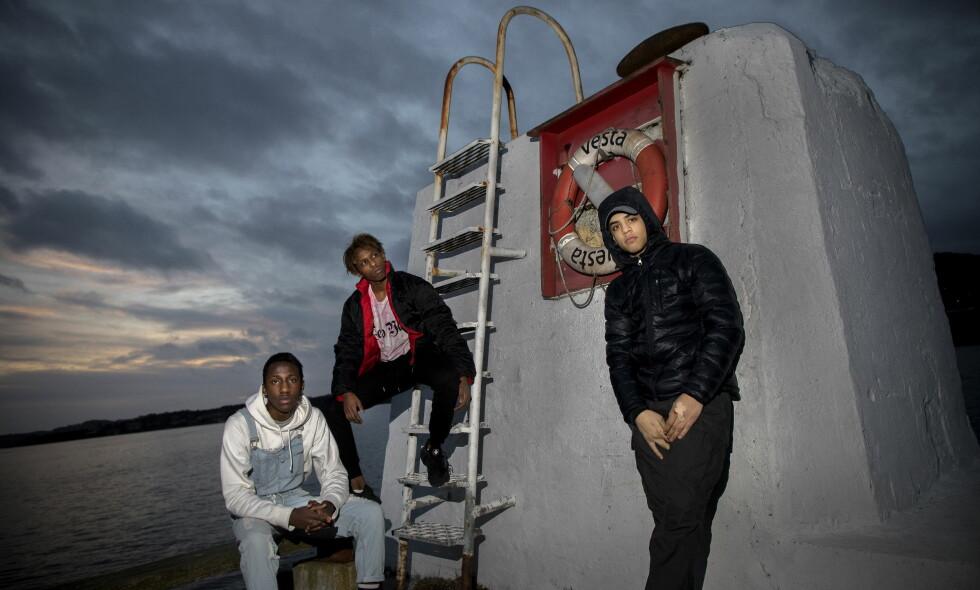 KOMPISGJENGEN: Christian Ndikumana (16) (f.v.), Hani Said Abedelkarim (16) og Abdikahn Stiwi (16) var blant knivdrepte Jakob Abdullahis Hassans nærmeste venner. Foto: Tomm W. Christiansen / Dagbladet
