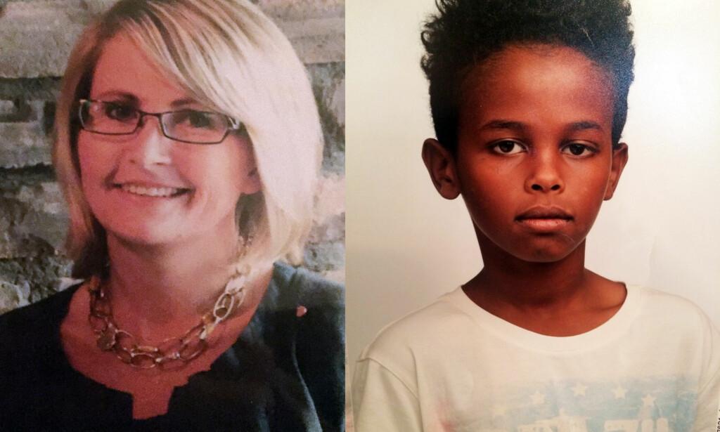 DREPT: Jakob Abdullahi Hassan (14) og Tone Ilebekk (48) ble påført dødelige knivstikk ved Wilde Minne skole i Kristiansand mandag ettermiddag. Begge døde av skadene. Foto: Politiet / NTB Scanpix