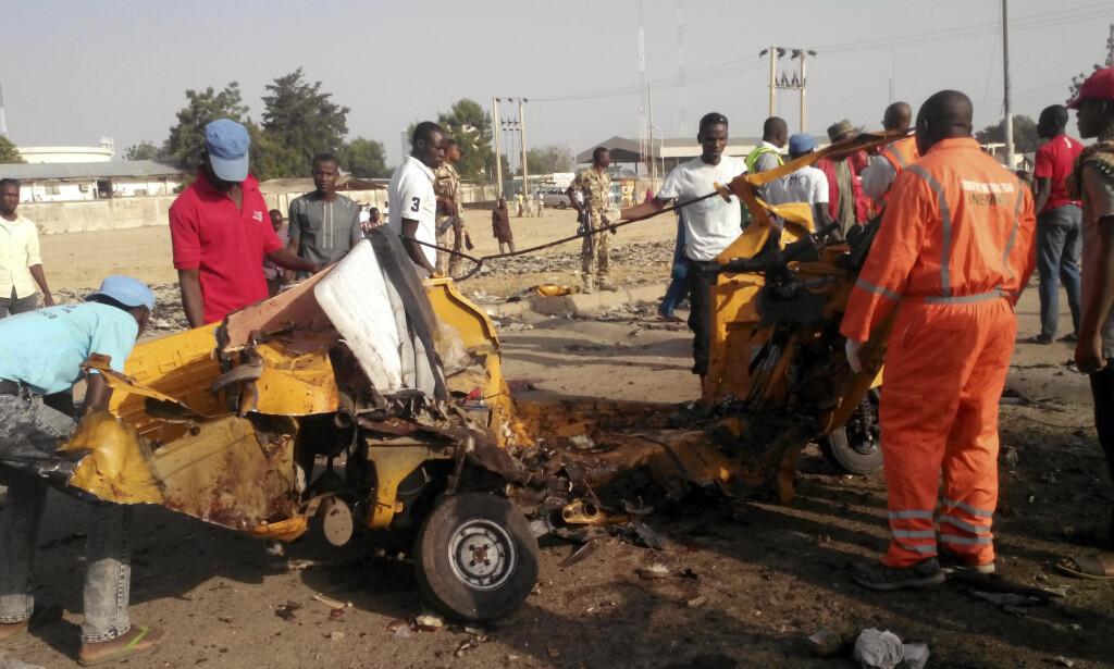 SELVMORDSAKSJON: 17 mennesker ble såret i selvmordsaksjonen, og sykehuskilder betegner skadene til mange av dem som «relativt alvorlige».Foto: AP Photo/Jossy Ola, FILE
