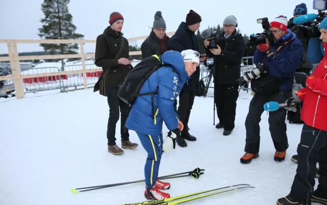 OMSVERMET: Interessen rundt Charlotte Kallas comeback var stor på Lillehammer i dag. Foto: Geir Olsen / NTB Scanpix