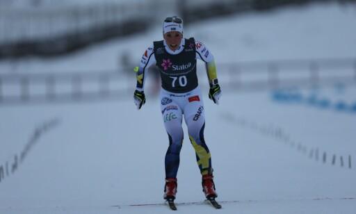 I MÅL: Charlotte Kalla var ikke helt fornøyd med den tekniske utførelsen av rennet på Lillehammer lørdag. Foto: Geir Olsen / NTB Scanpix