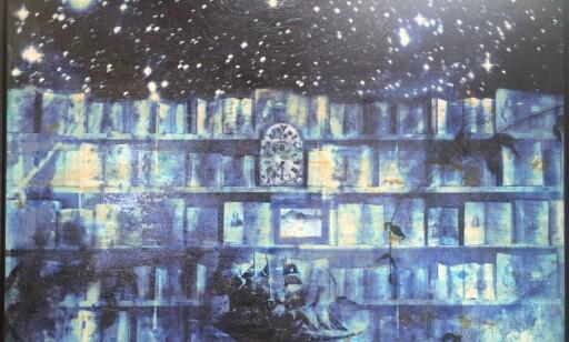 LIDENSKAPENS BIBLIOTEK: Maleri fra serien «Broken glass in passions library».