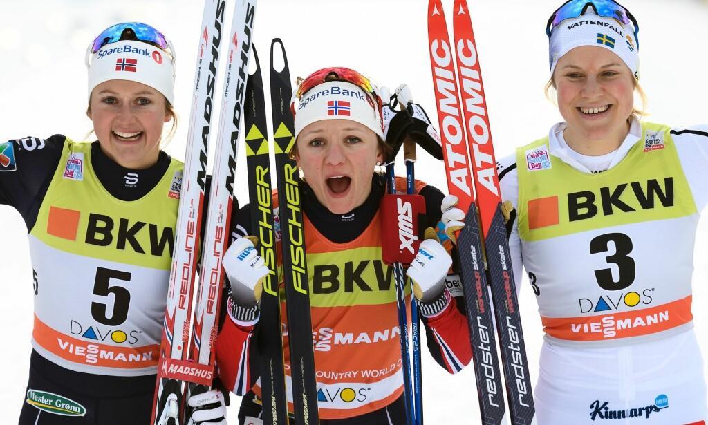AKKURAT NOK: Andreplassen på sprinten i dag var akkurat nok til å overta den gule trøya i verdenscupen for aller første gang for Ingvild Flugstad Østberg. Foto: AFP / FABRICE COFFRINI/ NTB Scanpix