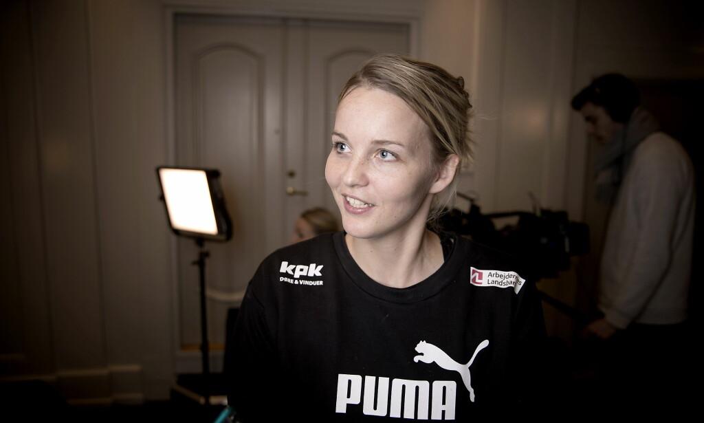 GULL-KEEPER?: Danske Sandra Toft på pressetreffet. Foto: Bjørn Langsem / Dagbladet
