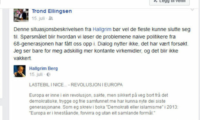 - DIALOG NYTTER IKKE: Trond Ellingsen gikk ut mot 68-generasjonen og naive politikere på Facebook, hvor han også skrev at han ser for seg «adskillig mer kontante virkemidler, og det blir ikke vakkert».