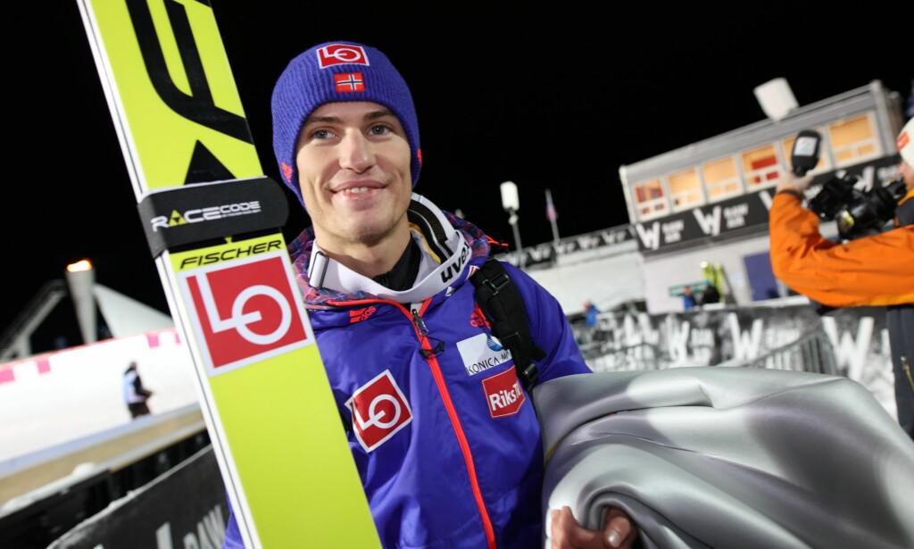 GOD HELG PÅ JOBB: Daniel-André Tande ligger på andreplass i sammendraget i verdenscupen. Foto: Geir Olsen / NTB Scanpix