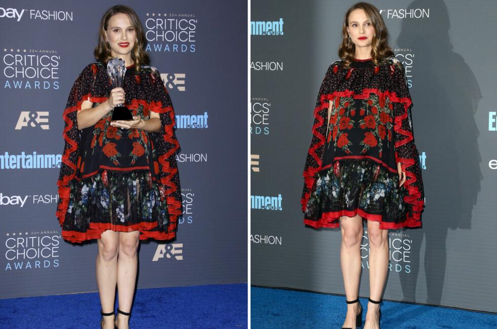 DEKKET TIL MAGEN: Under Critics Choice Awards på søndag ankom Natalie Portman i en vid kjole fra Alexander McQueen. Foto: NTB Scanpix