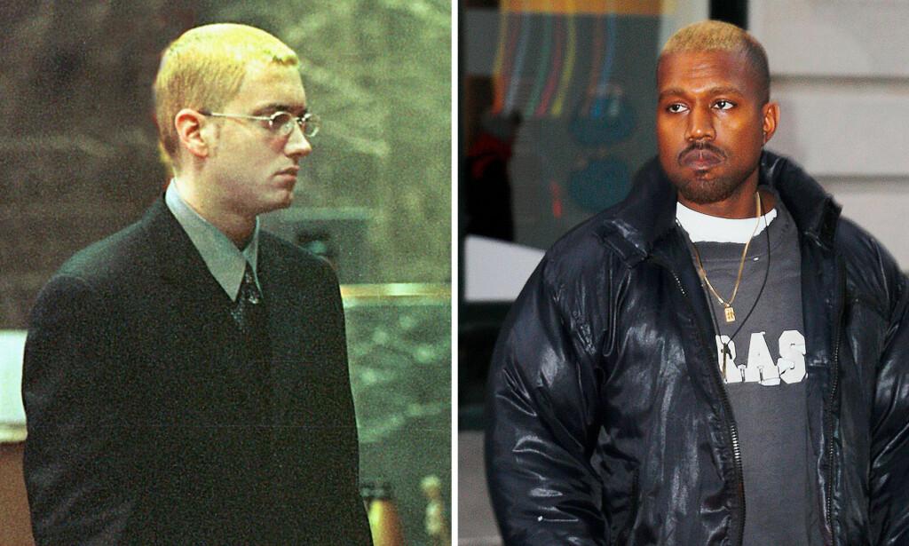 GJØR SOM EMINEM: Kanye West har valgt å farge håret sitt i samme stil som rapperen Eminem. Foto: Scanpix