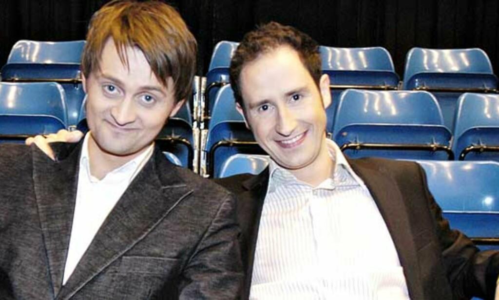 UP AND COMING: «Senkveld»-duoen Thomas Numme og Harald Rønneberg er landets mest fremadstormende tv-personligheter, ifølge vårt panel. Foto: Truls Brekke