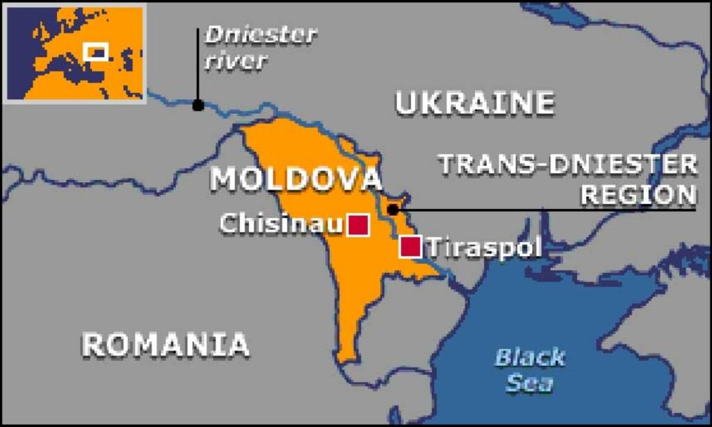 Transdniester: Har vært en utbryterrepublikk fra staten Moldova i 15 år, men er ikke anerkjent av det internasjonale samfunnet. Den ligger på andre siden av elven Dniester, derav navnet. Foto: Faksimile fra BBC