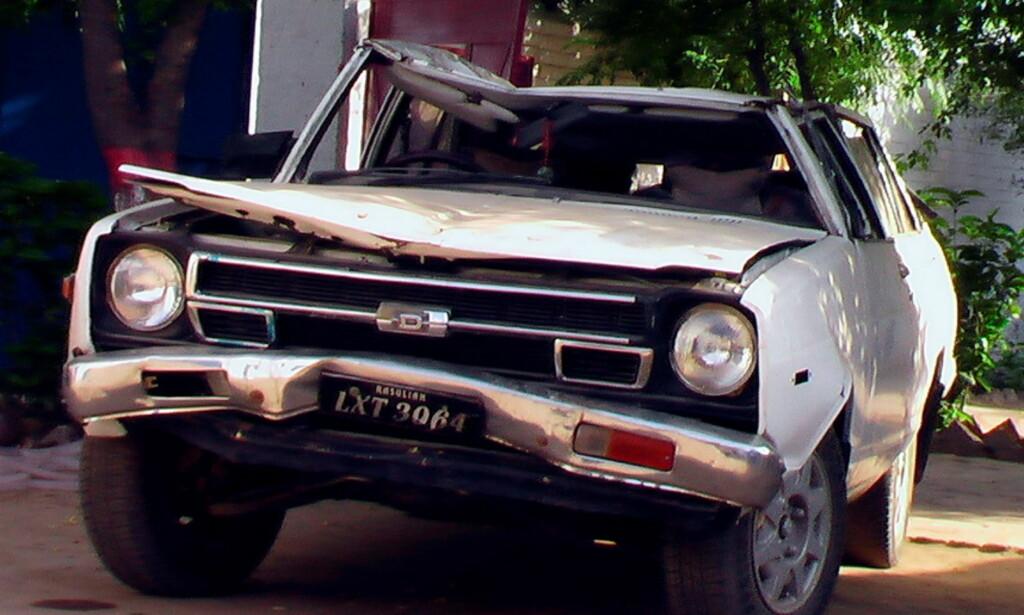 VRAK: Her er vraket av bilen Rahila Iqbal (21) satt i. FOTO: WASIM BUTT