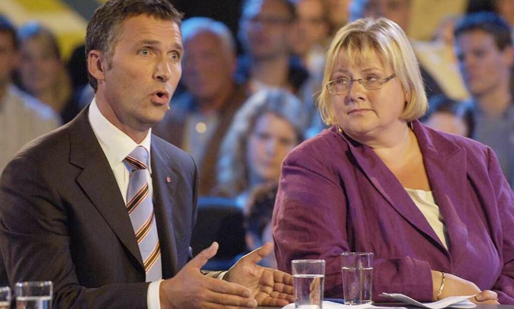 DUELL: Erna Solberg og Jens Stoltenberg har møtt hverandre flere ganger i valgkampen, men i Ålesund ble det heftigere ordskifte enn vanlig. Foto: TOR ERIK H. MATHIESEN
