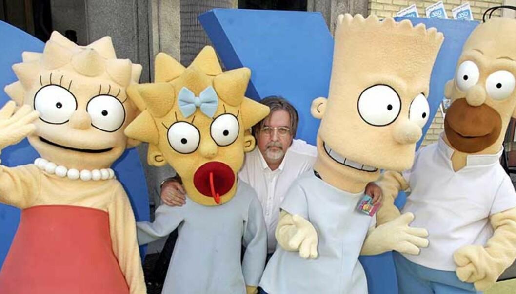 <b>«FAMILIEN SHAMSOON»:</b> Lisa, Maggie, Homer og Bart Simpson har alle fått nye navn og vaner når de nå sendes på arabisk TV. Her sammen med «pappa» Matt Groening. Foto: REUTERS/ SCANPIX