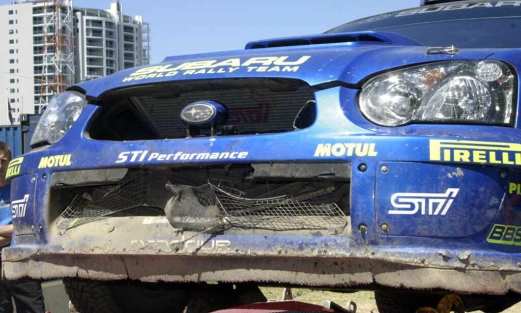 KENGURU-KRASJ: Petter Solbergs Subaru fikk hard medfart i sammenstøtet med kenguruen. Ikke estetisk, men mekanisk. - Oljetemperaturen steg med en gang. Jeg skjønte det var noe drastisk galt, forteller Petter Solberg. Foto: Tormod Brenna