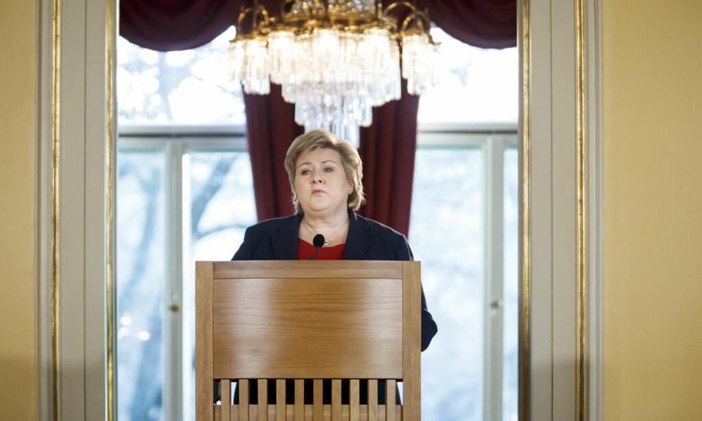ÅPNET MED ALEPPO: Statsminister Erna Solberg holder i dag sin halvårilige pressekonferanse fra statsministerboligen. Foto: Heiko Junge / NTB scanpix