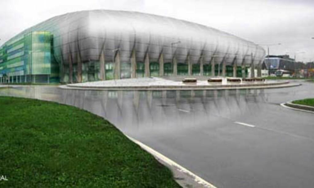 MYE GLASS: Det er lagt opp til store glassfasader på Fornebu Arena, som vil slippe lys inn på stadion. Illustrasjon: HRTB A/S ARKITEKTER