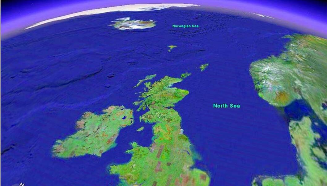 <strong><B> ET PARADOKS:</strong> </B> Den globale oppvarmingen gjør at isbreer smelter og mer ferskvann renner ut i havet. Ferskvannet bremser Golfstrømmen og kan gi ekstrem kulde i Nordvest-Europa. Foto: Google Earth
