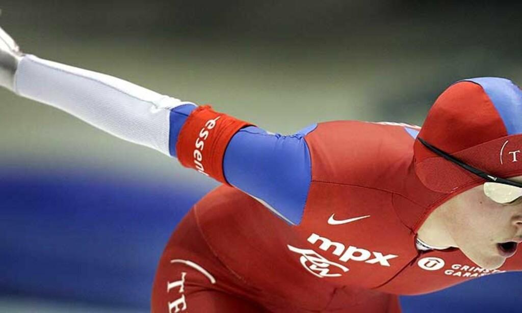 FORMSTERK: Maren Haugli ble nummer åtte på dagens 3000 meter på OL-isen i Torino, og snuser på pallen i verdenscupens lengste distanser. Foto: EPA