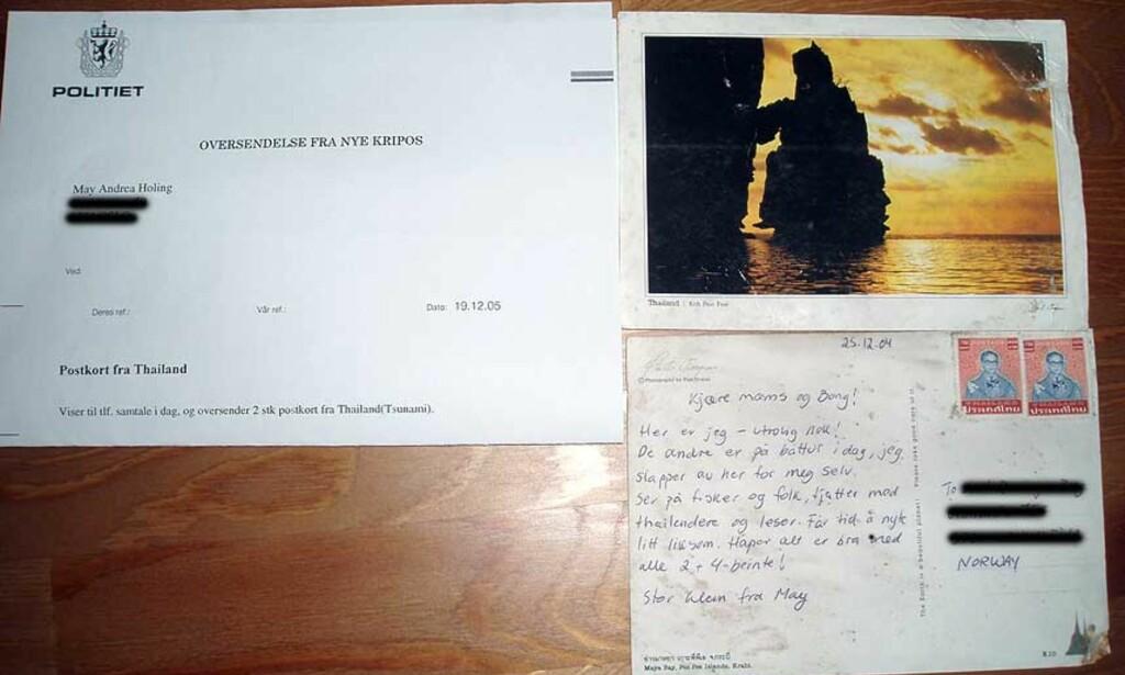 KOM FRAM TIL JUL: De to postkortene kom endelig fram, nesten et år etter at de ble postet på Phi Phi-øyene i Thailand. May Andrea Holing ble svært rørt da hun fikk dem i posten lille julaften. Foto: Privat
