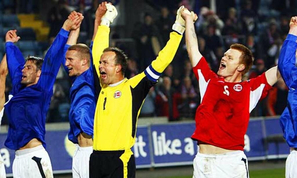 PENGER Å JUBLE FOR: Thomas Myhre & Co. får en pen sum penger om de kvalifiserer seg for EM 2008. Foto: SCANPIX