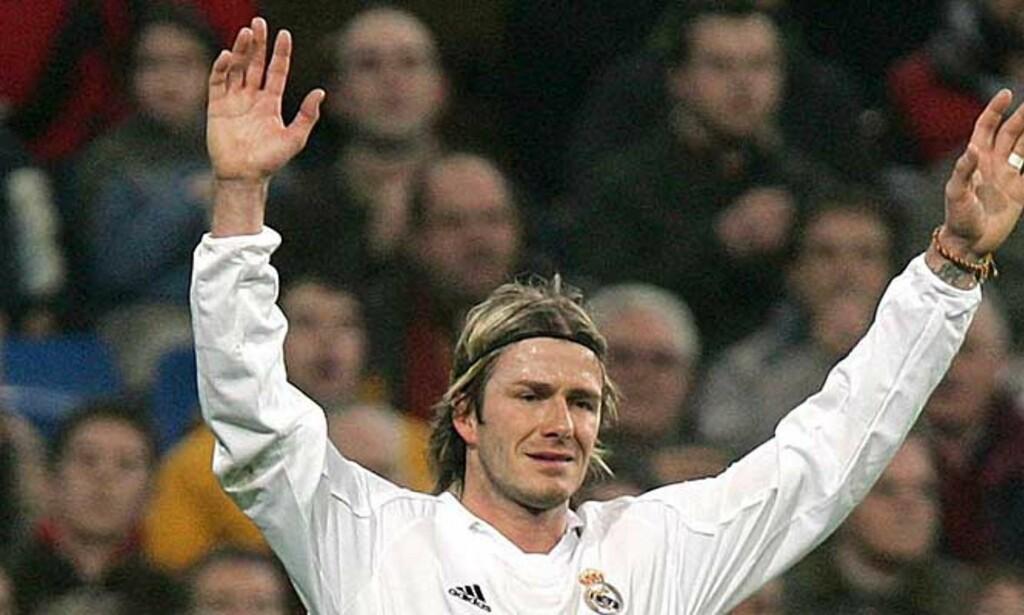 FORLENGER: - 99 prosents sikkerhet for at jeg signerer ny avtale med Real Madrid, sier David Beckham. Foto: Alberto Martin/EPA/Scanpix