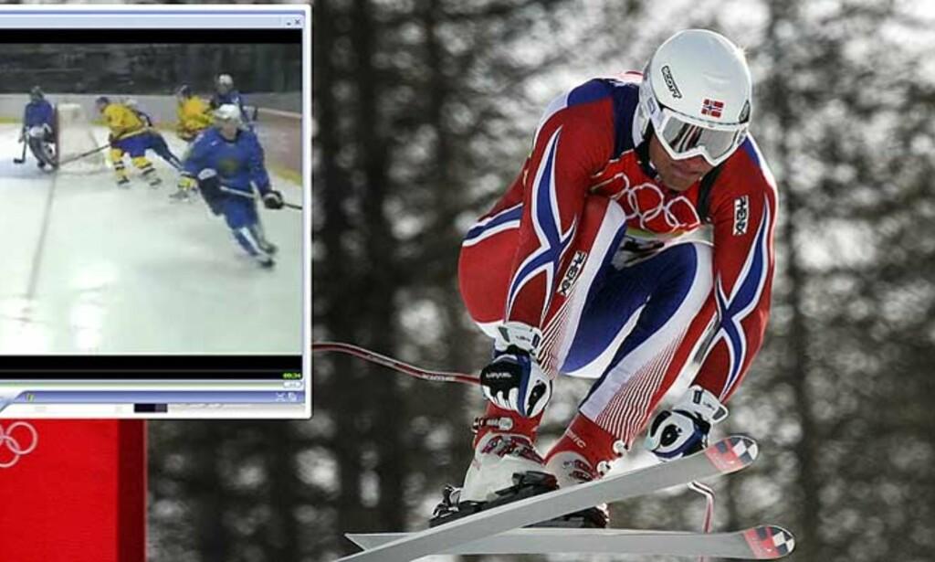 OL PÅ KONTORET: Enten du vil følge norske alpinthåp eller de svenske hockeygutta - nå kan du se OL gratis og direkte på PC-en. Fotomontasje: Dagbladet.no/Scanpix