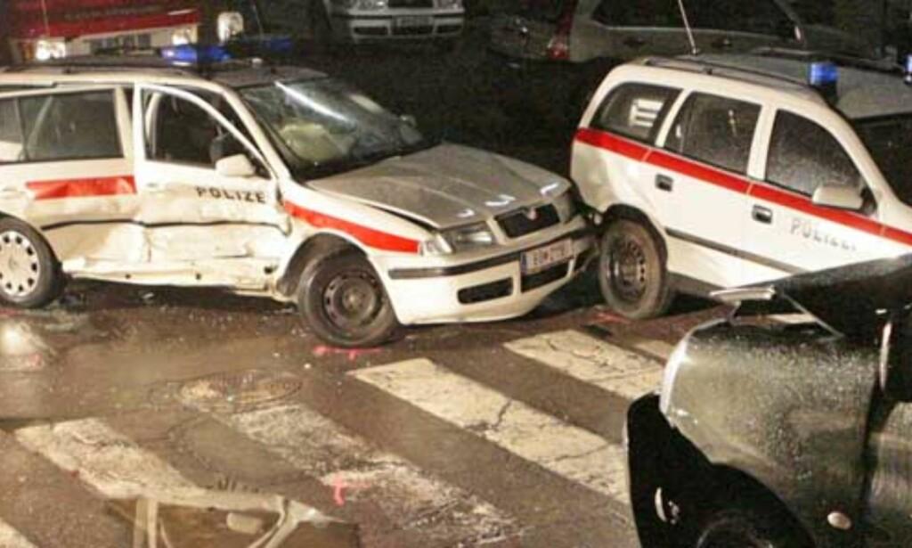 KJØRTE INN I POLITIBIL: Wolfgang Mayer kolliderte med politiet da han forsøkte å stikke av fra dem. Foto: AP